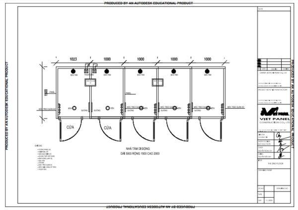 Thiết kế nhà tắm di động 5 buồng